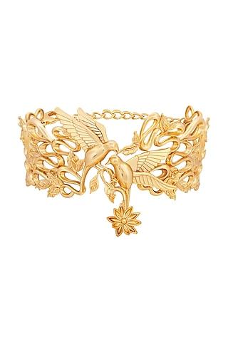 Matte Gold Plated Choker Necklace by Opalina