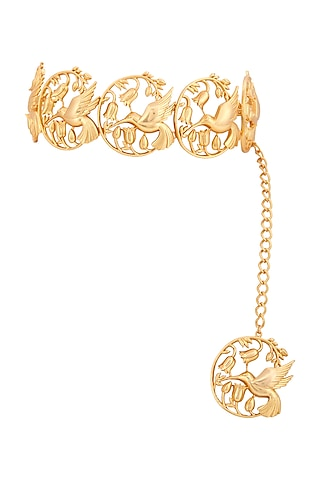 Matte Gold Plated Hummingbird Choker Necklace by Opalina
