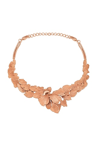 Rose Gold Plated Textured Leaves Necklace by Opalina