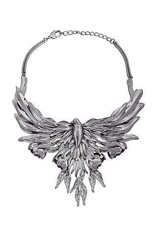 Gun Metal Finish Handcrafted Necklace by Opalina