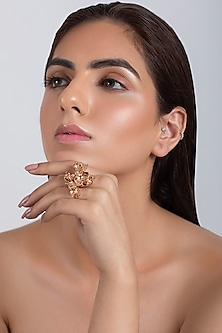 Rose Gold Plated Floral Ring by Opalina