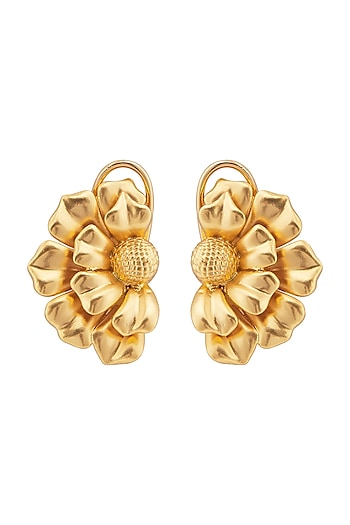 Matte Gold Plated Floral Stud Earrings by Opalina