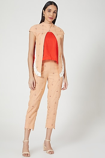 Peach Embroidered Double Layered Top by ORCR
