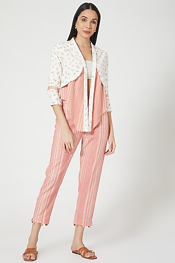 White & Peach Printed Double Layered Jacket by ORCR