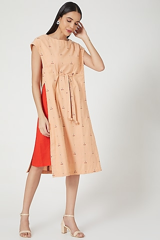 Peach Embroidered Layered Dress by ORCR