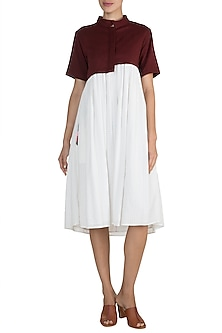 Maroon & White Pleated Jacket Dress by Ori