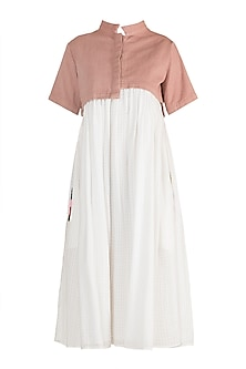 Nude & White Pleated Dress by Ori