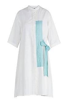 White Khadi Cotton Shirt Dress by Ori