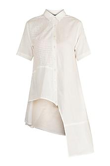 White Asymmetric Shirt by Ori