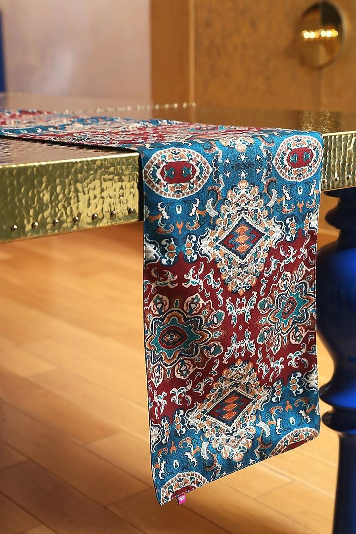 Teal & Red Ajmal Sitara Heriz Rug Printed Cotton Canvas Table Runner by Oris Root