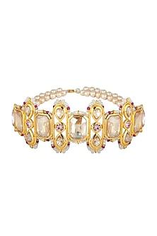Gold Plated Phulkari Choker Necklace by Ornamaas