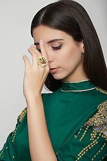 Gold Plated Phulkari Drop Ring by Ornamaas