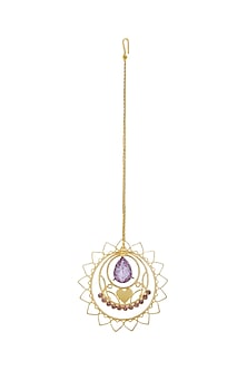 Gold Plated Lavender Maang Tikka by Ornamaas
