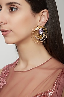Gold Plated Lavender Earrings by Ornamaas