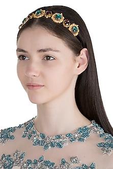 Gold Plated Purple & Teal Green Victorian Headband by Ornamas By Ojasvita Mahendru