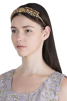 Gold Plated Topaz Marquise Tiara Headband by Ornamas By Ojasvita Mahendru