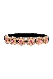 Gold Plated Princes Pink & Peach Marquise Headband by Ornamas By Ojasvita Mahendru
