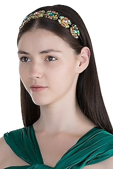 Gold Plated Multi Colored Stones Headband by Ornamas By Ojasvita Mahendru