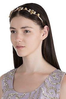 Gold Plated Rose Flower & Topaz Tiara Headband by Ornamas By Ojasvita Mahendru