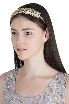Gold Plated White Crystal Marquise Tiara Headband by Ornamas By Ojasvita Mahendru