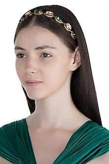 Gold Plated Emerald Gold Oval Headband by Ornamas By Ojasvita Mahendru
