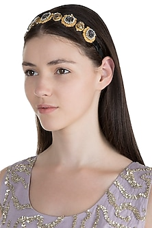 Gold Plated Pink Oval Shadow Victorian Headband by Ornamas By Ojasvita Mahendru