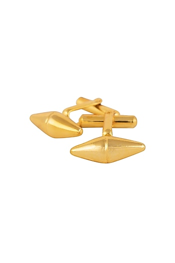 Gold Plated Drum Shaped Cufflinks by Ornamas By Ojasvita Mahendru