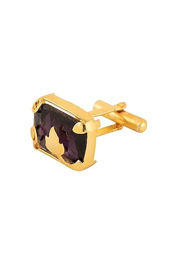 Gold Plated Violet Shadow Stone Cufflinks by Ornamas By Ojasvita Mahendru