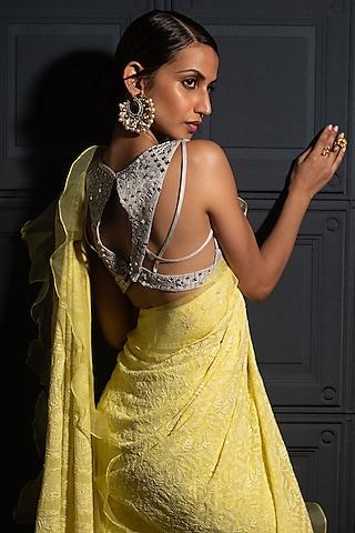 Lemon Yellow Embroidered Chikankari Saree Set by ORU