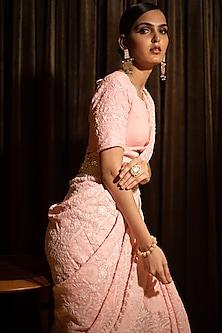 Blush Pink Embroidered Chikankari Saree Set With Belt by ORU