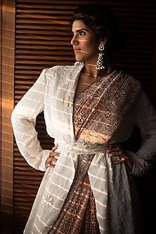 White Embroidered Chikankari Jacket With Belt by ORU