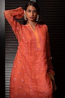 Orange Embroidered Chikankari Kurta Set by ORU
