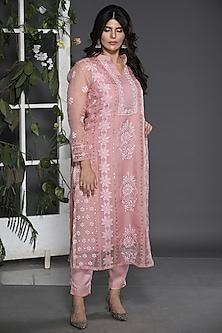 Blush Rose Pink Embroidered Chikankari Kurta Set by ORU