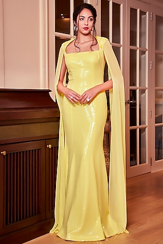 Lemon Yellow Embroidered Gown by Oru