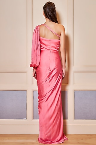 Flamingo Pink Embroidered One Shoulder Gown by Oru