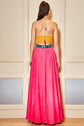 Yellow & Pink Habotai Silk Gown by Oru