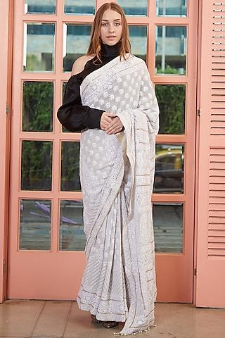 Grey Chikankari Embroidered Saree by ORU