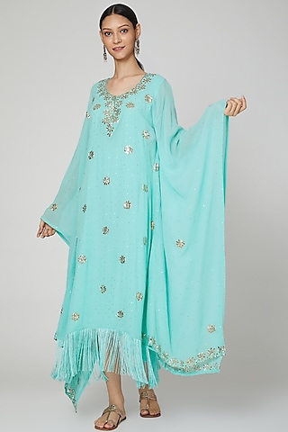 Seafoam Green Embroidered Kaftan With Inner by Oru