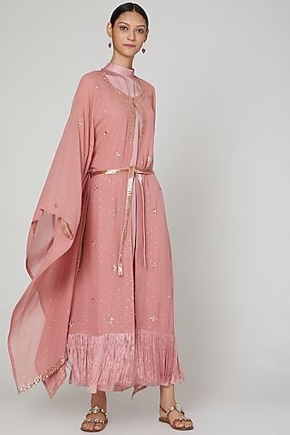 Onion Pink Embroidered Kaftan With Inner & Belt by Oru