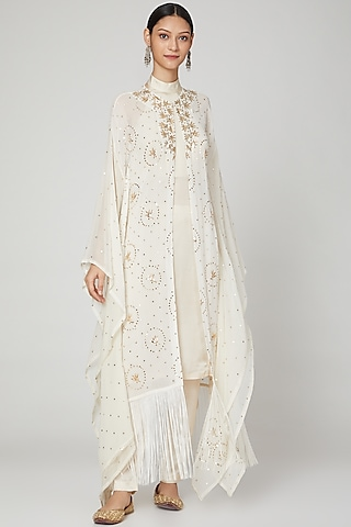 Off White Embroidered Kaftan Set by Oru