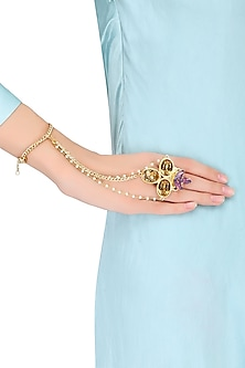 Gold Plated Oval And Topaz Stone Hand Harness by Ornamas By Ojasvita Mahendru