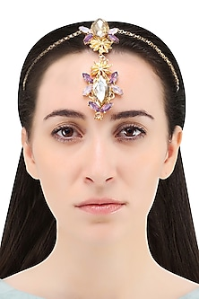 Gold Plated Star Anise And Rose Stone Head Harness by Ornamas By Ojasvita Mahendru