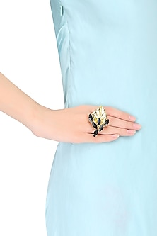 Gold Plated Montane Stone Autumn Leaf Ring by Ornamas By Ojasvita Mahendru