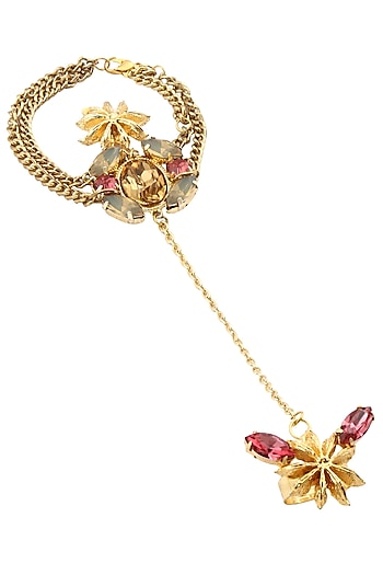 Gold Plated Star Anise And Pink Stone Hand Harness by Ornamas By Ojasvita Mahendru