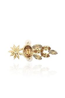 Gold Plated Star Anise Motif Beehive Ring by Ornamas By Ojasvita Mahendru