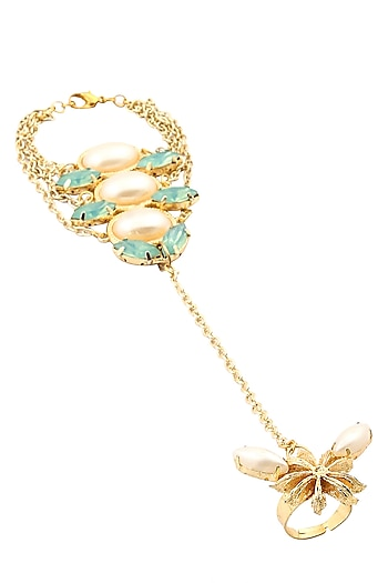 Gold Plated Jade Opal Stones And Pearls Hand Harness by Ornamas By Ojasvita Mahendru