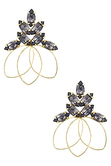 Gold plated Redolance Black Fleur Earrings by Ornamas By Ojasvita Mahendru