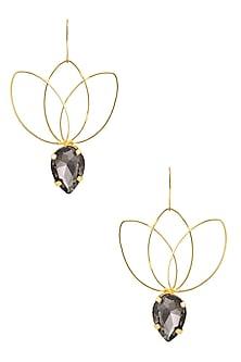 Gold plated Smoke Bella Lotus Earrings by Ornamas By Ojasvita Mahendru