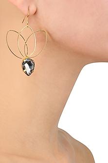 Gold plated Smoke Bella Lotus Earrings by Sonnet Jewellery