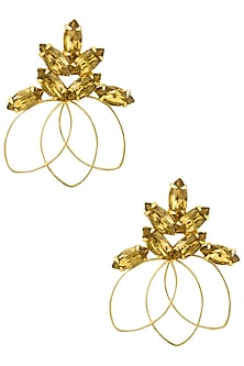 Gold plated Redolance Topaz Bouquet Earrings by Ornamas By Ojasvita Mahendru